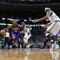 04 March 2012: New York Knicks shooting guard J.R. Smith (8) drives past Boston Celtics small forward Mickael Pietrus (28) during the Boston Celtics 115-111 (OT) victory over the New York Knicks at the TD Garden, Boston, Massachusetts, USA.