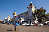 Yangon Central Railway Station is the largest railway station in Myanmar. It is the gateway to Myanmar Railways' 3126 mile (5031 kilometer) rail network. The station was built in 1877 by the British but destroyed in 1943 from advancing Japanese forces. The current station designed in traditional Burmese architectural style was completed in 1954. Yangon Central Railway Station has been designated a city landmark building since 1996.