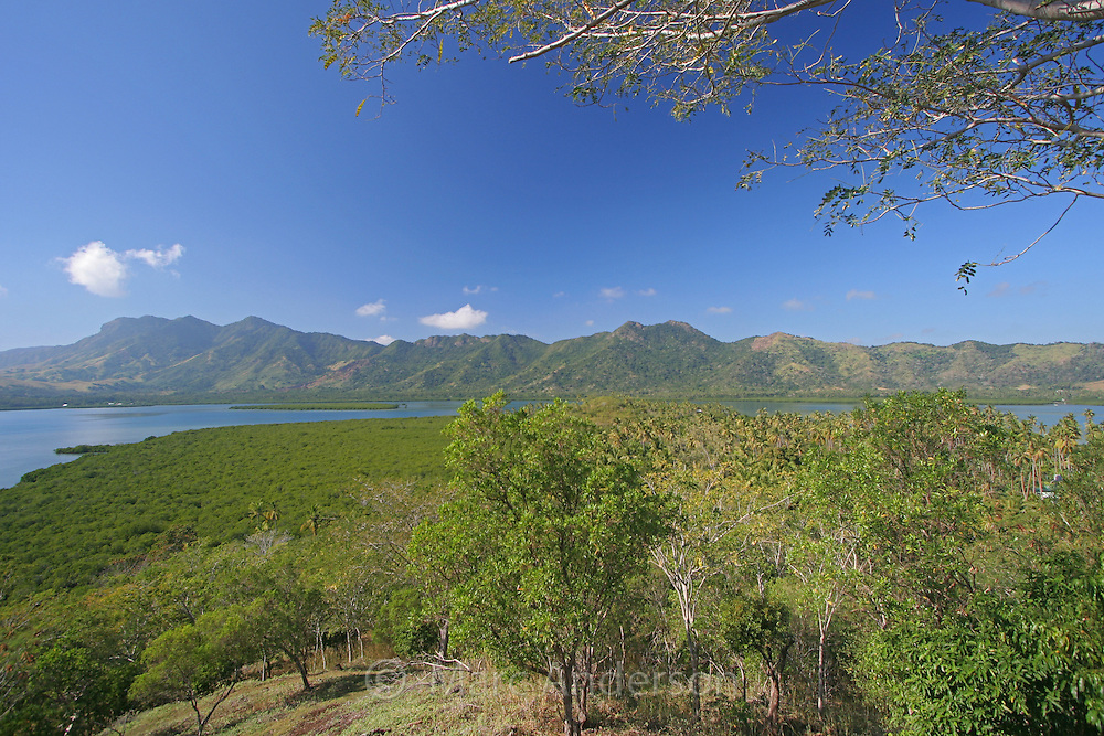 Mountains, trees and coastline around a tropical island in Vanua Levu, Fiji