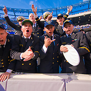 Navy Midshipmen celebrate as Navy defeats Notre Dame 35-17 at The New Giant's Stadium in East Rutherford New Jersey