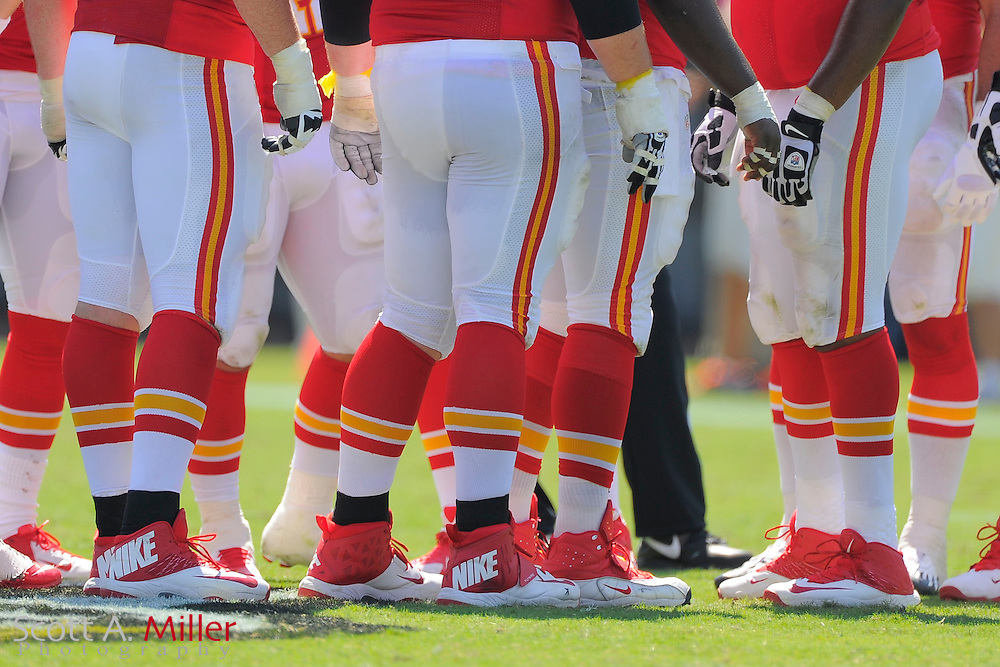Kansas City Chiefs offense in the huddle during the Chiefs 28-2 win over the Jacksonville Jaguars at EverBank Field on Sept. 8, 2013 in Jacksonville, Florida. The <br /> <br /> &copy;2013 Scott A. Miller