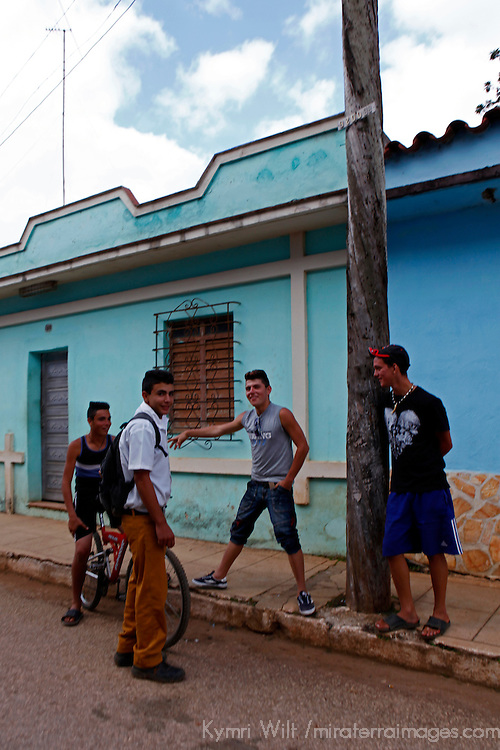 Central America, Cuba, Remedios. Cuban boys in street in Remedios.
