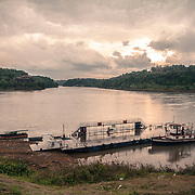 Ferry service at the triple border between Argentina, Brazil and Paraguay at the conjunction between the rivers Rio Paranà and Rio Iguazu.Seen from the Paraguaian side, on the left Brazil, on the right one Argentina