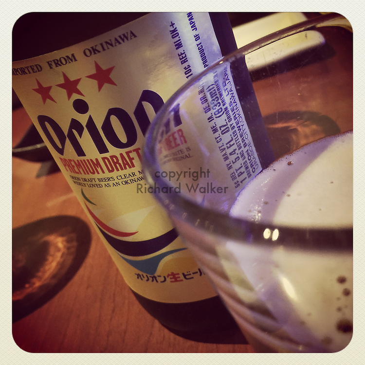 2015 February 08 - Orion beer in bottle and cup at a bar in Seattle, WA, USA. Taken/edited with Instagram App for iPhone. By Richard Walker