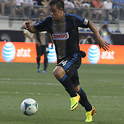 Philadelphia Union Midfielder Daniel Cruz (44) attempting to pass the ball to Philadelphia Union Forward Jack McInerney (9) in the first half a MLS regular season match against the Portland Timbers Saturday, July. 20, 2013 at PPL Park in Chester PA.