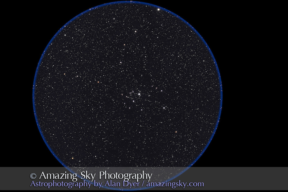 IC 2395 Cluster in Vela. NGC 2670 to lower left. Taken with 4-inch AP Traveler apo refractor at f/4.5 with Canon 20Da camera at ISO 800 for stack of 4 x 2 minute exposures. Taken from Coonabarabran, NSW, March 26, 2007.