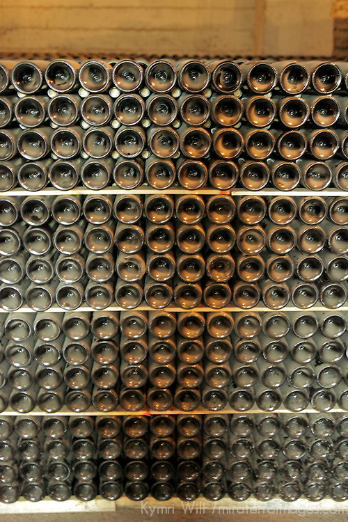 South America, Chile, Santiago. Wine Bottles at Santa Rita Winery.