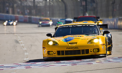 LONG BEACH, CA - APR 15: American Le Mans Driver Oliver Gavin/Jan Magnussen of the Corvette Racing Team drive car #4 during practice run. Photo by Eduardo E. Silva