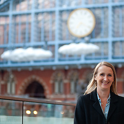 London, UK - 18 April 2013: artist Nicola Shaw poses for a picture on the day her new piece of public art, Cloud: Meteoros is unveiled above the Grand Terrace at St Pancras International station.