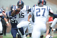 Jeremy Liggins (15) runs at Mississippi's Grove Bowl controlled scrimmage at Vaught-Hemingway Stadium in Oxford, Miss. on Saturday, April 5, 2014.