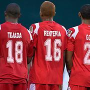 Panama Attacker Luis Tejada #18, Attacker Luis Rentería #16 and Midfielder Aníbal Godoy #20 in the second half the concacaf gold cup quarterfinals Sunday, June 19, 2011 at RFK Stadium in Washington DC.