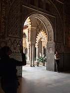 The Alcazar, Seville, Spain. The oldest royal palace in Europe still in use, the Alcazar was originally a Moorish fort and is now registered as a UNESCO World Heritage site.