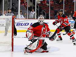 Oct 24, 2008; Newark, NJ, USA; New Jersey Devils goalie Martin Brodeur (30) makes a save during the first period at the Prudential Center.