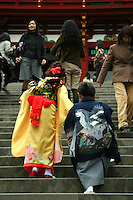 Japanese children climbing the stairs at Shichi-Go-San - a traditional rite of passage and festival day in Japan for three and five and seven year olds, held annually on November 15. Since Shichi-Go-San is not a national holiday, it is observed on the nearest weekend.  Kids are still dressed in kimono, many for the first time, for visits to shrines.  Western-style formal wear is also worn by some children.