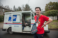 Letter carrier Charlie Pelley on a wet morning in Calistoga