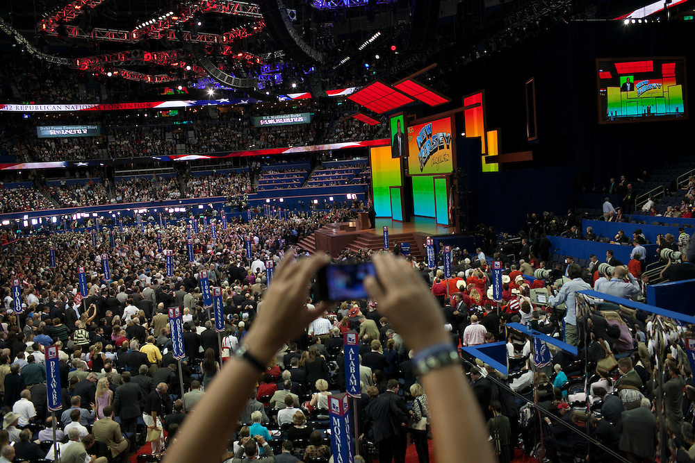 Chris Christie speaks at the RNC in Tampa, FL, on Tuesday, Aug. 28, 2012. ..Photograph by Andrew Hinderaker.