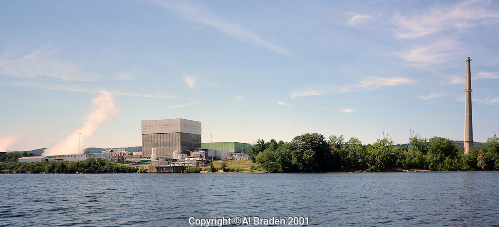 Vermont Yankee nuclear power plant adds heated water to the Connecticut River at Vernon, VT