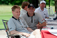 Per Nygårds, coach of Anze Kopitare while he was playing in Sweden for Södertälje, and Matjaz Kopitar, father of Anze Kopitar and head coach of Slovenia ice hockey team, at Anze's Eleven and SKB Charity Golf Tournament, on June 11, 2011 in Golf court Bled, Slovenia. (Photo by Matic Klansek Velej / Sportida)