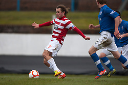 Hamilton's Steven May scoring their goal..half time : Cowdenbeath v Hamilton, 9/3/2013..©Michael Schofield..