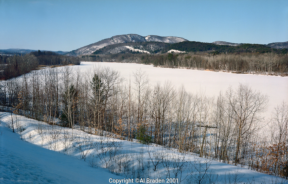 Connecticut River, looking north in winter from Rt. 142, Vernon, VT