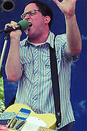 Craig Finn of The Hold Steady pleads to the crowd during the band's set at the Pitchfork/Intonation Music Festival in Chicago's Union Park.