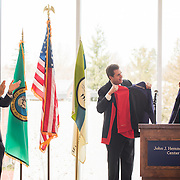 Gonzaga President Thayne McCulloh and University of Washington President Ana Mari Cauce announce a new partnership for medical education and research between the two schools. (Photo by Rajah Bose)