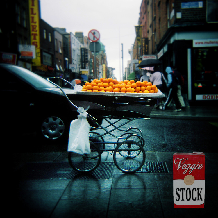 Oranges for sale from a pram in Dublin, Ireland, 2008.