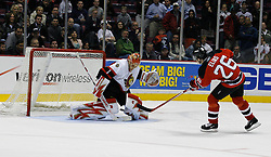 Apr 3, 2007; East Rutherford, NJ, USA; Ottawa Senators goalie Ray Emery (1) makes a save on New Jersey Devils center Patrik Elias (26)during the overtime shootout at Continental Airlines Arena in East Rutherford, NJ.