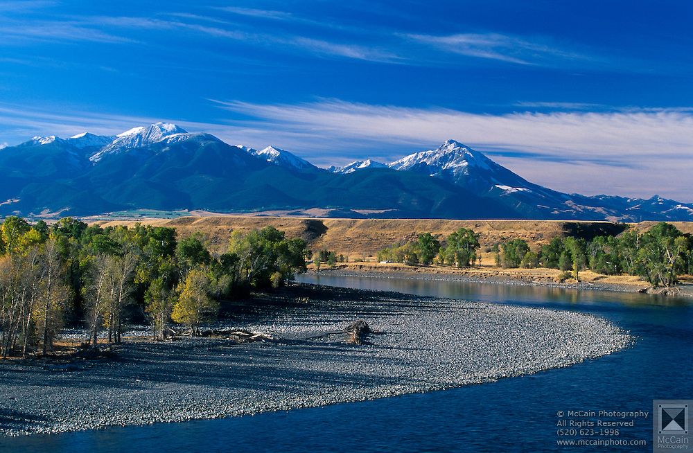 Yellowstone River And Snow On Gallatin Mountain Range In