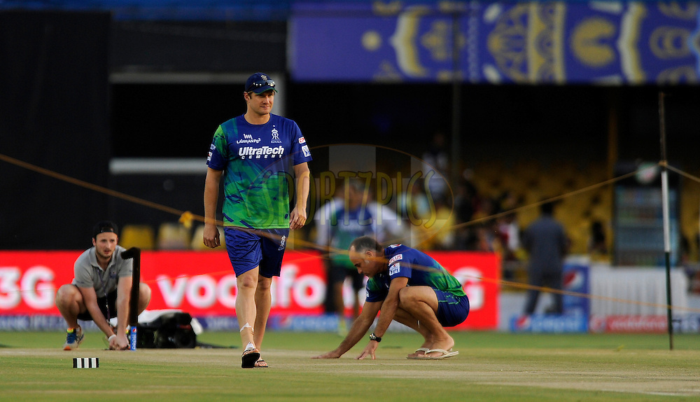 Shane Watson captain of Rajasthan Royals walks in to have a closer look at the pitch during a practice session before the start of match 22 of the Pepsi IPL 2015 (Indian Premier League) between The Rajasthan Royals and The Royal Challengers Bangalore held at the Sardar Patel Stadium in Ahmedabad , India on the 24th April 2015.<br /> <br /> Photo by:  Pal Pillai / SPORTZPICS / IPL