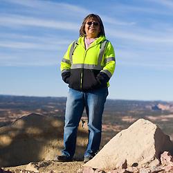 Marie Justice drives a water truck at the Kayenta Mine in Black Mesa, Arizona.