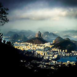 Rio de Janeiro Brazil view of the dramatic natural skyline from the surrounding jungle at the Vista Chinesa