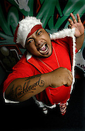 Hip hop star Savage dressed as Savage Santa. December 2004.<br />