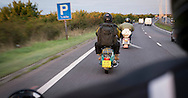 Scooterist's on Dual Carriageway Heading for Scooter Rally, Essex, Britain - Aug 2014