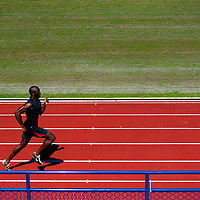 6/12/12 3:23:52 PM -- Bradenton, FL. -- Olympian LaShawn Merritt, who competes in the 400 meters, works on his technique at a nearby high school while training at the IMG Performance Institute in Bradenton, Florida. ...Photo by Chip J Litherland, Freelance.
