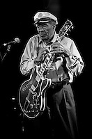 Rock and roll legend Chuck Berry performing live on Stage in the UK