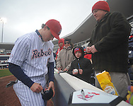 Former Ole Miss baseball player Chris Coghlan of the Florida Marlins signs autographs at the Ole Miss baseball alumni game at Oxford-University Stadium in Oxford, Miss. on Saturday, February 5, 2011. Coghlan is the 2009 National League Rookie of the Year.