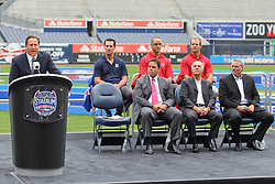 Aug 8, 2013; New York, NY, USA; Host Bruce Beck speaks at a press conference at Yankee Stadium. Two outdoor regular-season NHL games will be played at Yankee Stadium during the 2013-14 season as part of the 2014 Stadium Series.
