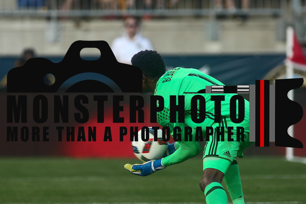 Philadelphia Union Keeper ANDRE BLAKE (1) makes a save in the in the second half of a Major League Soccer match between the Philadelphia Union and Chicago Fire Wednesday, June. 22, 2016 at Talen Energy Stadium in Chester, PA.