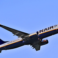 Ryanair Boeing 737 taking off from Cork Airport at dusk.<br />