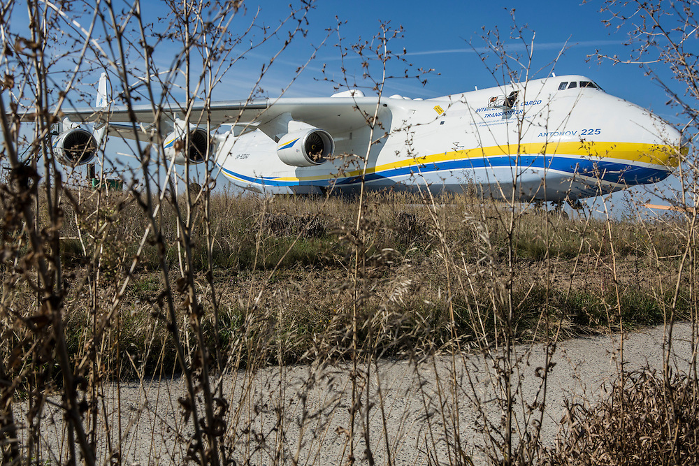 GOSTOMEL, UKRAINE - OCTOBER 1, 2014: The Antonov AN-225, the longest and heaviest airplane ever built, on an airfield in Gostomel, outside Kiev, Ukraine. CREDIT: Brendan Hoffman for The New York Times