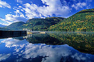Bull Lake and dock in the Cabinet Mountains in fall. Bull River Valley, Montana