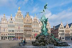 Antwerp; Brabo Fountain and historic buildings in Grote Markt square in Antwerp Belgium