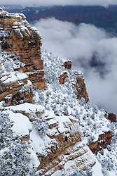 A fresh snowfall blankets the South Rim of Grand Canyon National Park near Mather Point.