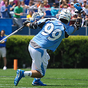 John Hopkins Midfielder HOLDEN CATTONI (99) celebrates after scoring in the 3rd quarter of a NCAA Division I Men's Lacrosse Tournament game between the defending national champion Duke and No. 8 ranked John Hopkins Sunday, May. 18, 2014 at Delaware Stadium in Newark, DEL