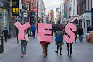 Voolunteers for the YES party in Grafton street, Dublin, before the Gay Marriage Referendum.
