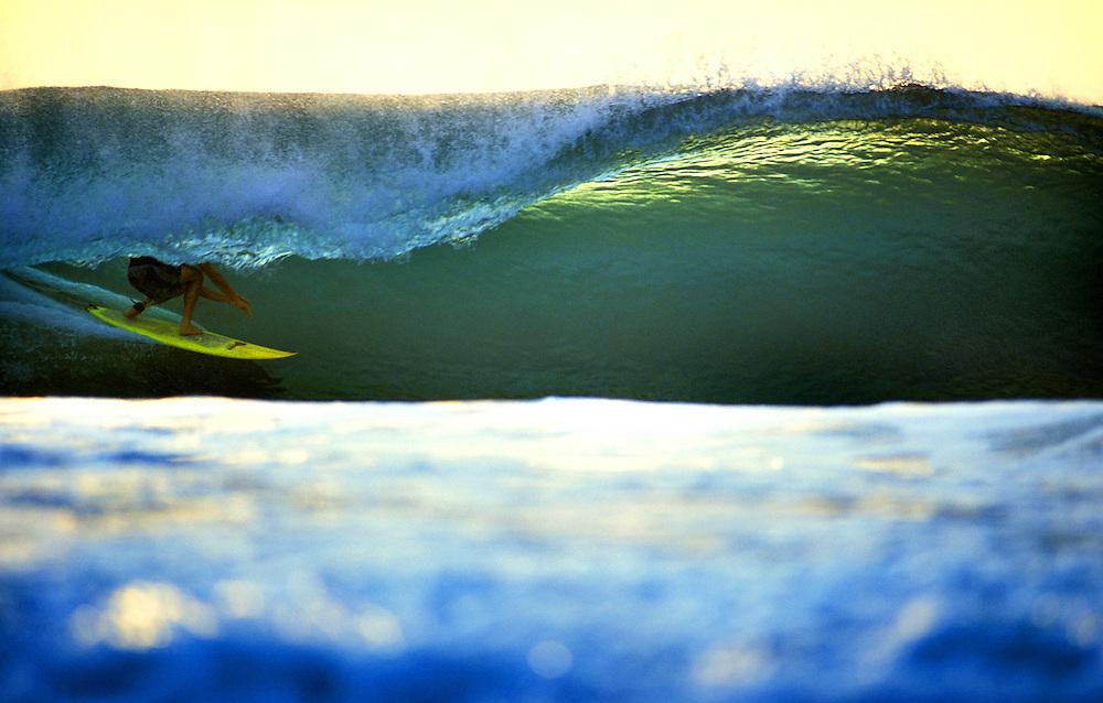 Surfing deep in an emerald barrel - Desert Point, Lombok, Indonesia