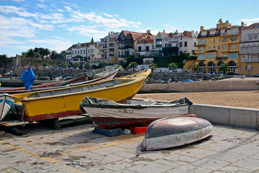 Europe, Portugal, Cascais. Fishing boats resting ashore at Cascais on the Estoril coast.