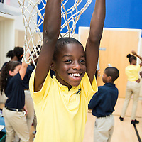 An Epiphany School student has fun at recess in Dorchester, MA.