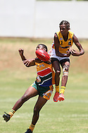 POTCHEFSTROOM, SOUTH AFRICA - JANUARY 28, Liam Bennell (Albany, WA) of the Australian Boomerangs during the AFL Game 1 match between the Flying Boomerangs and South African Lions under 18's at Mohadin Cricket Ground on January 28, 2013 in Potchefstroom, South Africa.Photo by Roger Sedres / Image SA